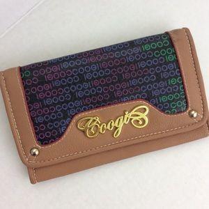 COOGI Tan Black Faux Leather Large Bi-fold Wallet